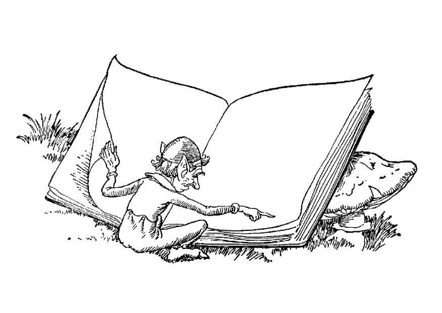 Disegno da colorare elfo con libro cat 9058 - Elfo immagini da stampare gratuitamente ...