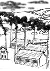 Disegno da colorare fabbriche - inquinamento