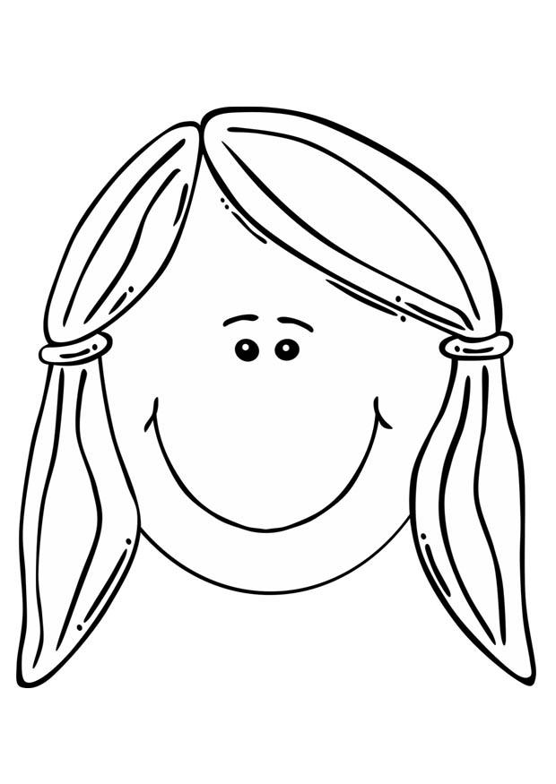 Disegno da colorare faccia di una ragazza cat 17105 - Immagine di una ragazza a colori ...