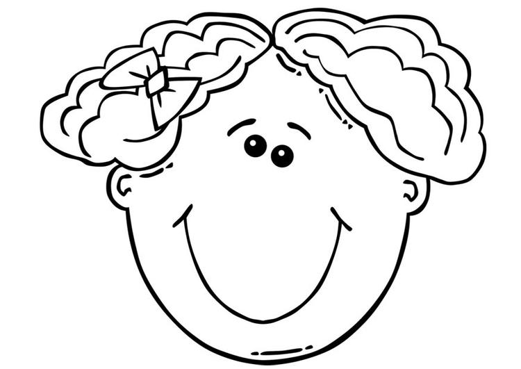 Disegno da colorare faccia di una ragazza cat 17104 - Immagine di una ragazza a colori ...