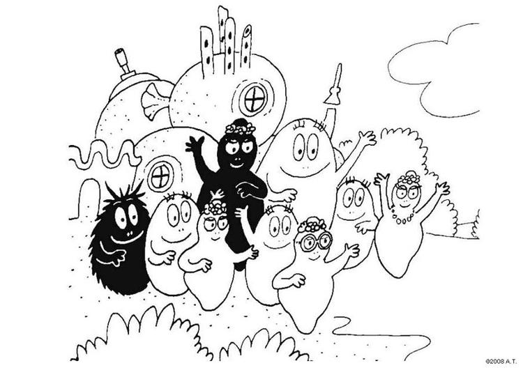 disegno da colorare famiglia barbapapà  disegni da