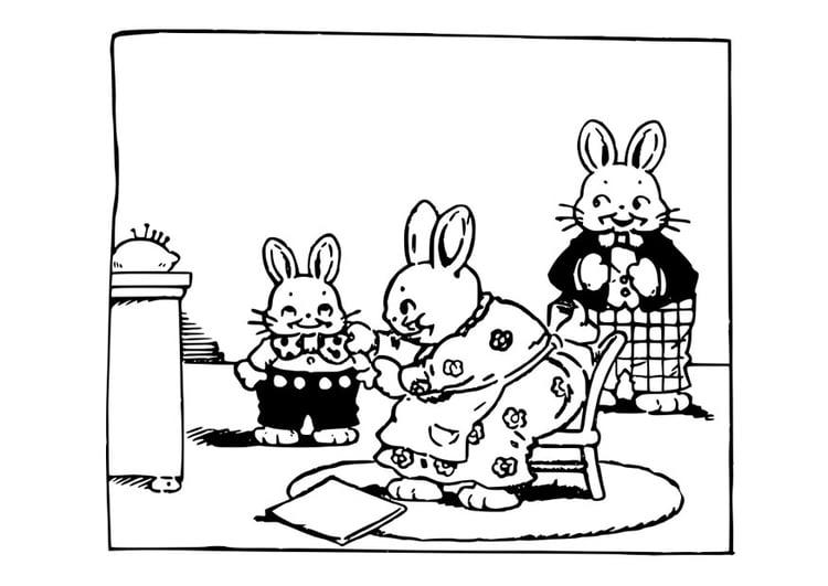 Disegno Da Colorare Famiglia Di Conigli Cat 29297