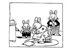 Disegno da colorare famiglia di conigli