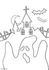 Disegno da colorare fantasma halloween