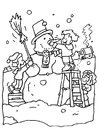 Disegno da colorare fare un pupazzo di neve