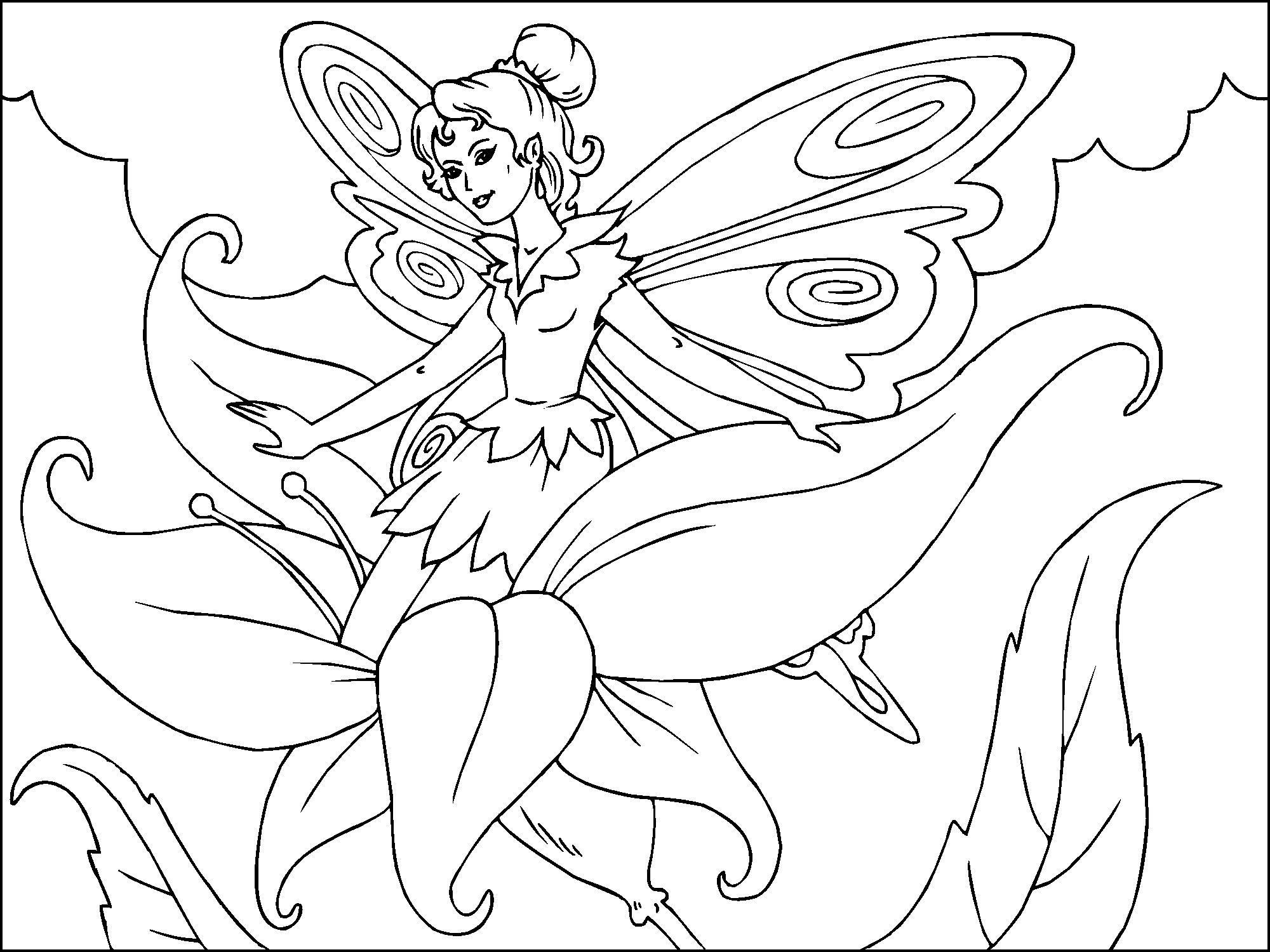 Disegno da colorare fata dei fiori cat 22814 - Fata immagine da colorare ...