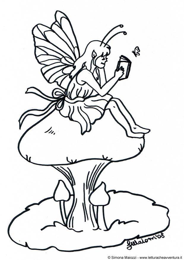 Disegno da colorare fata sul fungo cat 12342 - Fata immagine da colorare ...