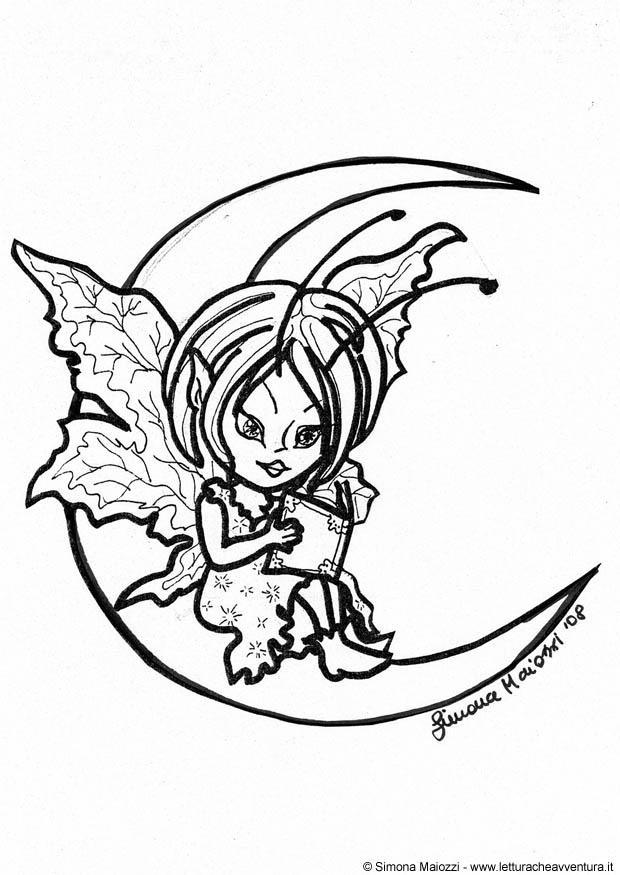 Disegno Da Colorare Fata Sulla Luna Cat 12351