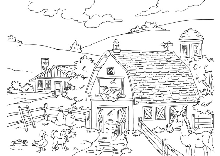 Disegno da colorare fattoria cat 26227 for Disegni di casa in stile fattoria