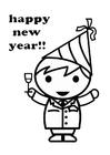 Disegno da colorare felice anno nuovo