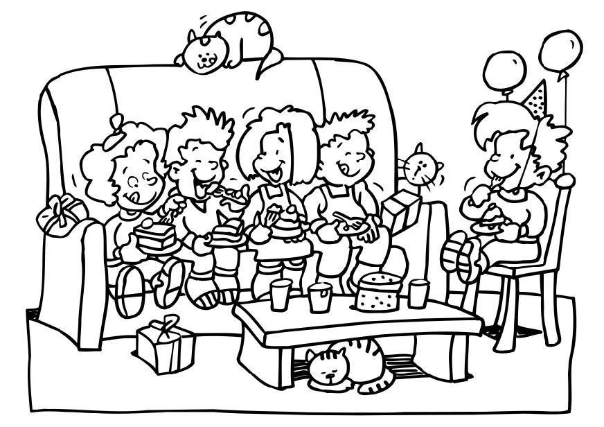 Disegno Da Colorare Festa Di Compleanno Cat 6495
