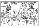 Disegno da colorare festa di matrimonio