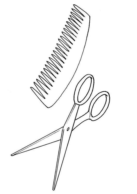 Disegno Da Colorare Forbici Pettine Cat 8215