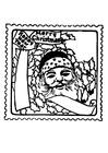 Disegno da colorare francobollo di Natale