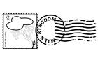 Disegno da colorare francobollo e timbro