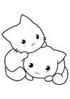 Disegno da colorare gattini