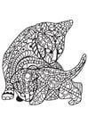Disegno da colorare gatto con gattino