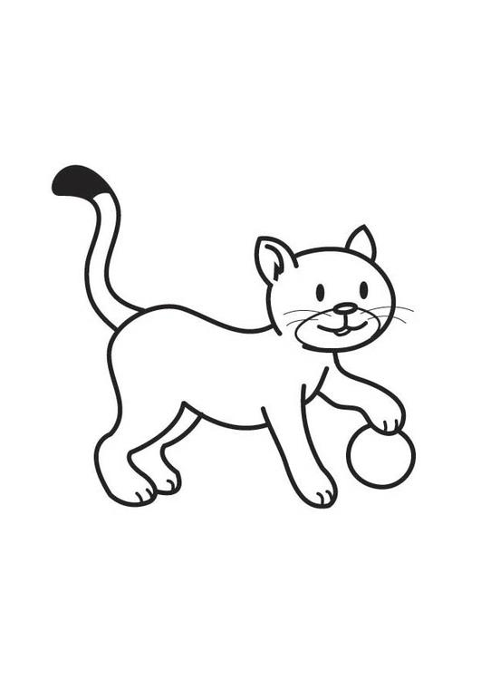 Disegno da colorare gatto con palla cat 17766 - Gatto disegno modello di gatto ...