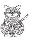 Disegno da colorare gatto grasso