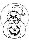 Disegno da colorare gatto Halloween
