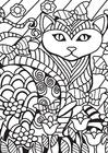 Disegno da colorare gatto in giardino