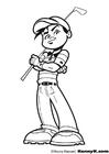 Disegno da colorare giocare a golf