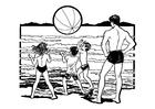 Disegno da colorare giocare in spiaggia