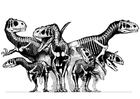 Disegno da colorare gruppo di dinosauri - scheletri