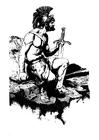 Disegno da colorare guerriero con spada