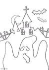Disegno da colorare halloween - fantasma
