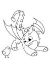 Disegno da colorare il drago gioca con il pulcino