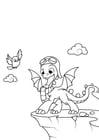 Disegno da colorare il drago sta per volare