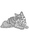 Disegno da colorare il gatto sta riposando