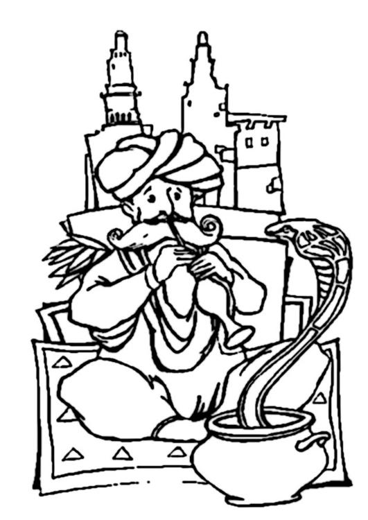 Disegno Da Colorare Incantatore Di Serpenti Cat 9365