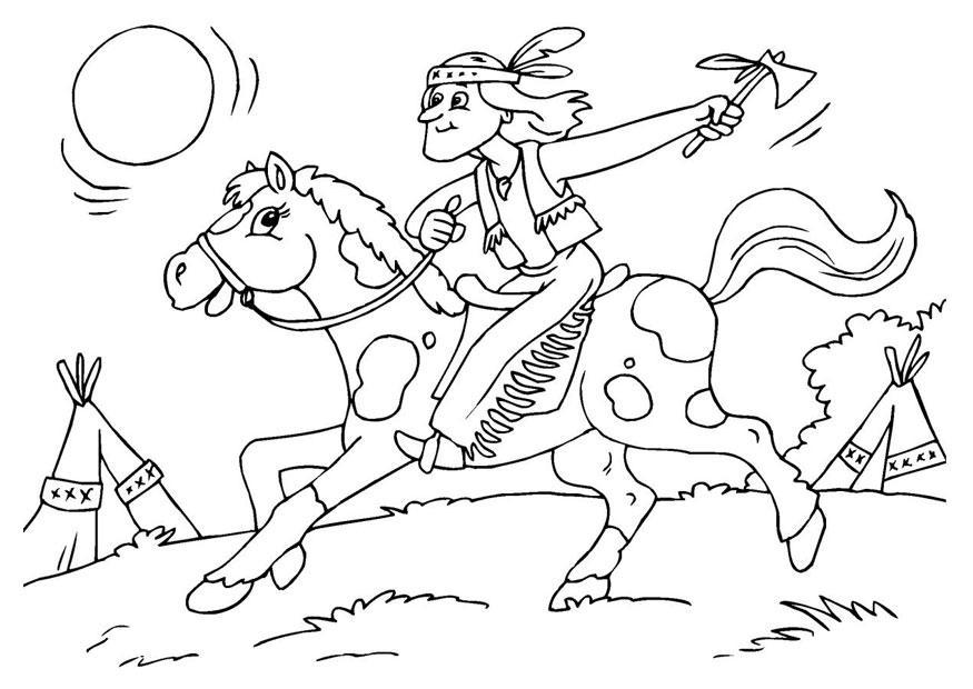 disegni da colorare indiani a cavallo