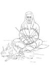 Disegno da colorare indiano vicino al fuoco