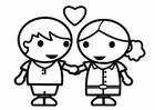 Disegno da colorare innamorati a San Valentino
