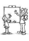 Disegno da colorare insegnante e studente