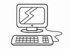 Disegno da colorare l'angolo del computer, l'angolo della ricerca