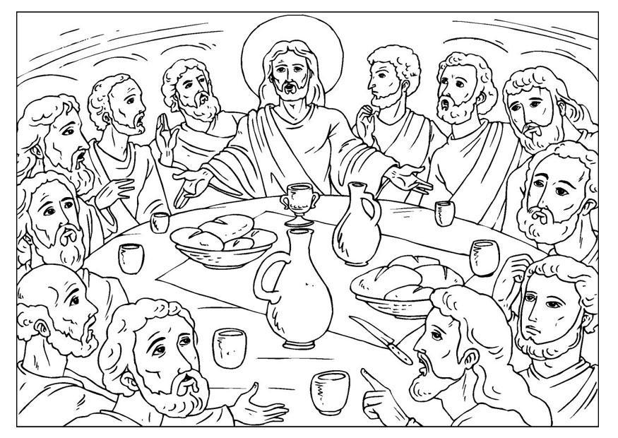 Disegno da colorare L'ultima cena - Cat. 25923. Da Vinci Last Supper Coloring Pages