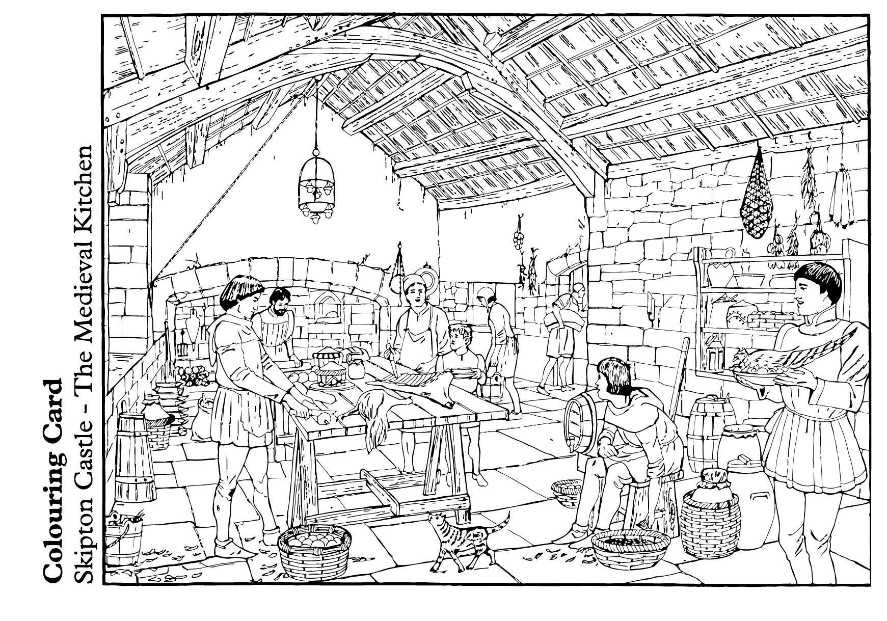 Free disegno da colorare la cucina medievale cat with - Colorare pareti cucina ...