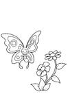 Disegno da colorare la farfalla sta sorridendo