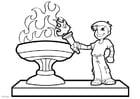 Disegno da colorare la fiamma olimpica