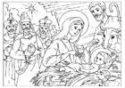 Disegno da colorare la nascità di Cristo