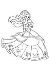 Disegno da colorare la principessa sta ballando