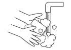 Disegno da colorare lavarsi le mani