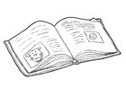 Disegno da colorare libro - leggere