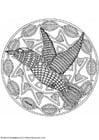 Disegno da colorare mandala uccello