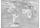 Disegno da colorare mappa del mondo 1548