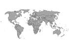 Disegno da colorare mappa del mondo con frontiere